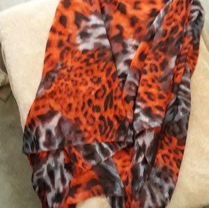 Flowy Red Zebra Leopard Wrap